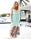 Plunge Neck Printed Maxi Dress