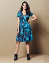 Plunge Neck Printed Scuba Skater Dress