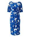 Blue Floral Print Twist Knot Dress