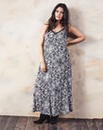 Black/Ivory Paisley Print Maxi Dress