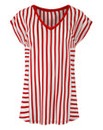Red Stripe V-neck T-shirt