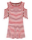 Red Stripe - Cold Shoulder T-shirt