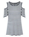 Navy Stripe - Cold Shoulder T-shirt