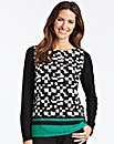 Geo Print Top with Jersey Sleeves