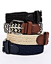 Braided Stretch Belts Set of 4