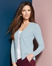 Pale Blue Rib V Neck Cardigan