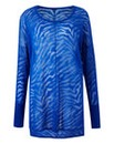 Cobalt Zebra Print Burn Out Jumper