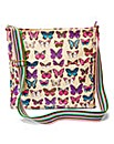 Butterfly Print Canvas Across Body Bag