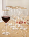 8 Gold Rim Wine Glasses