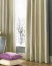 Plain-Dye Sateen Lined Pencil Curtain