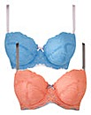 2 Pack Multiway Wired Pink Blue Bras