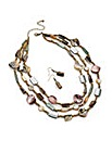 Three Row Brown Necklace And Earring Set