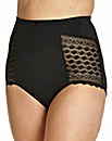 High Waist Geo Lace Black Briefs