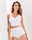 Dotty Long Line Non Wired White Bra