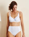 White Embroidered Cotton Comfort Bra