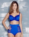 Geo Lace Cobalt Blue Full Cup Bra