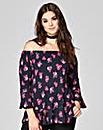 Pink Floral Print Frill Bardot Gypsy Top