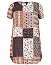 Samya Mixed Pattern Shift Dress