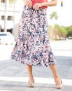 Floral Print Jersey Skirt Length 32in