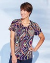 Aztec Print Modern Pleat Neck Blouse