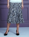 Print Jersey Skirt with Godets L32in