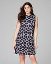 Zig Zag High Neck Sleeveless Swing Dress