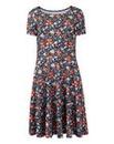 Floral Textured Jersey Skater Dress