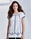 JOANNA HOPE Embroidered Jersey Top