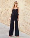 Joanna Hope Bead-Trim Jumpsuit