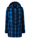Cobalt Check Duffle Coat Length 28ins