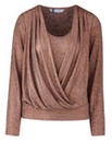 Joanna Hope Glitter Wrap Jersey Top