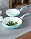 Set of 2 Ceramic Fry Pans Soft Blue
