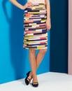 Stripe Cotton Sateen Pencil Skirt