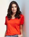 Orange V-neck Viscose T-shirt