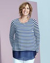 Navy Stripe Split Back Chiffon Top