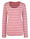 Pink Stripe Print Jersey Top