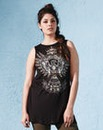 Embellished Placement Print Vest