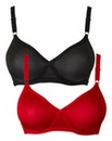 2 Pack Claire Non Wired Red/Black Bras