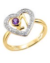 9 Carat Amethyst and Diamond 21 Ring