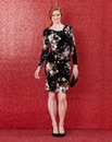 Printed Velour Side Tuck Dress