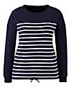 Dipped Hem Striped Pullover