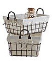 Wire Baskets With Lining Set of 2