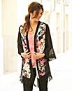 JOANNA HOPE Print Fringe Trim Kimono
