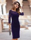 Together Lace Sleeve Velour Dress
