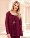 JOANNA HOPE Lace Insert Gypsy Top