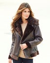 JOANNA HOPE Faux Fur Trim Aviator Jacket