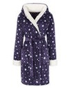 Fluffy Fleece Hooded Wrap Gown L38
