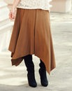 JOANNA HOPE Hanky Hem Mock Suede Skirt