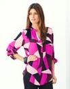 JOANNA HOPE Print Roll Up Sleeve Blouse