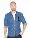 Flintoff by Jacamo L/S Denim Shirt Reg